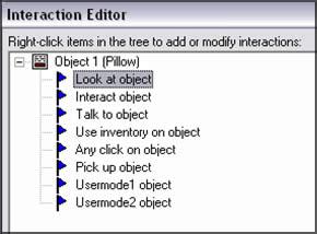 Tutorial AGS, Parte VI: Listador de interacciones en el editor de interacciones