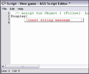 Tutorial AGS, Parte VI: Asistente de código de AGS