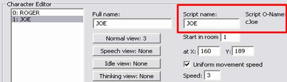 Tutorial AGS, Parte VI: El campo donde se coloca el nombre de objeto de un elemento de AGS.
